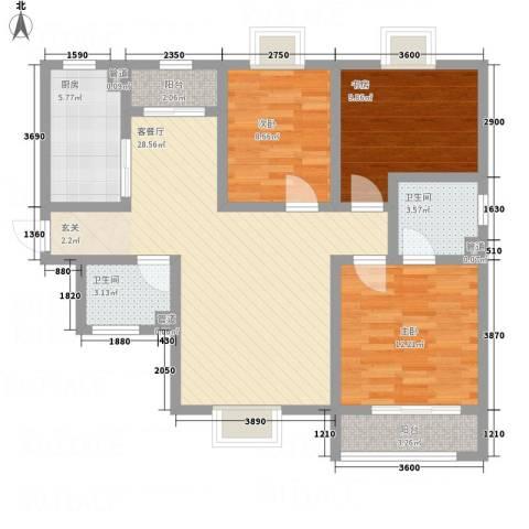 紫气东来3室1厅2卫1厨115.00㎡户型图