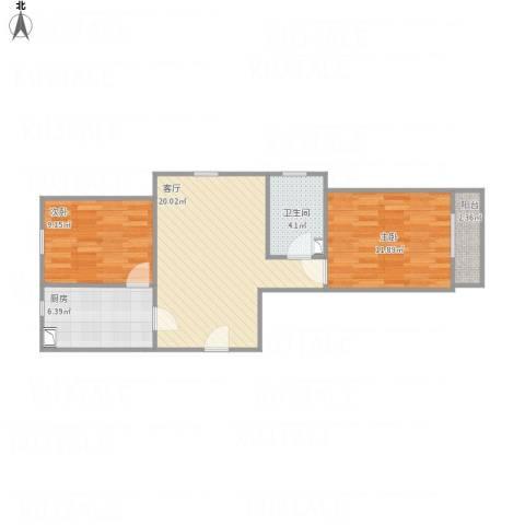 澳海澜庭2室1厅1卫1厨74.00㎡户型图