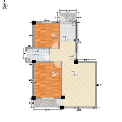 龙脉海景花园2室1厅1卫0厨84.00㎡户型图