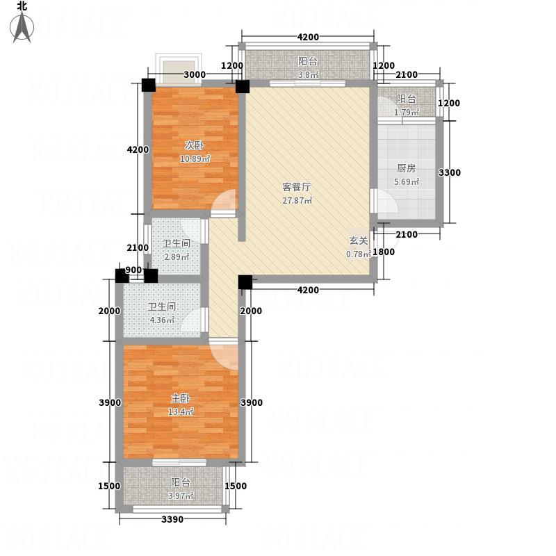 畔山庭院33.66㎡B3户型2室2厅2卫1厨