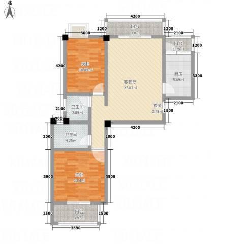 畔山庭院2室1厅2卫1厨74.67㎡户型图