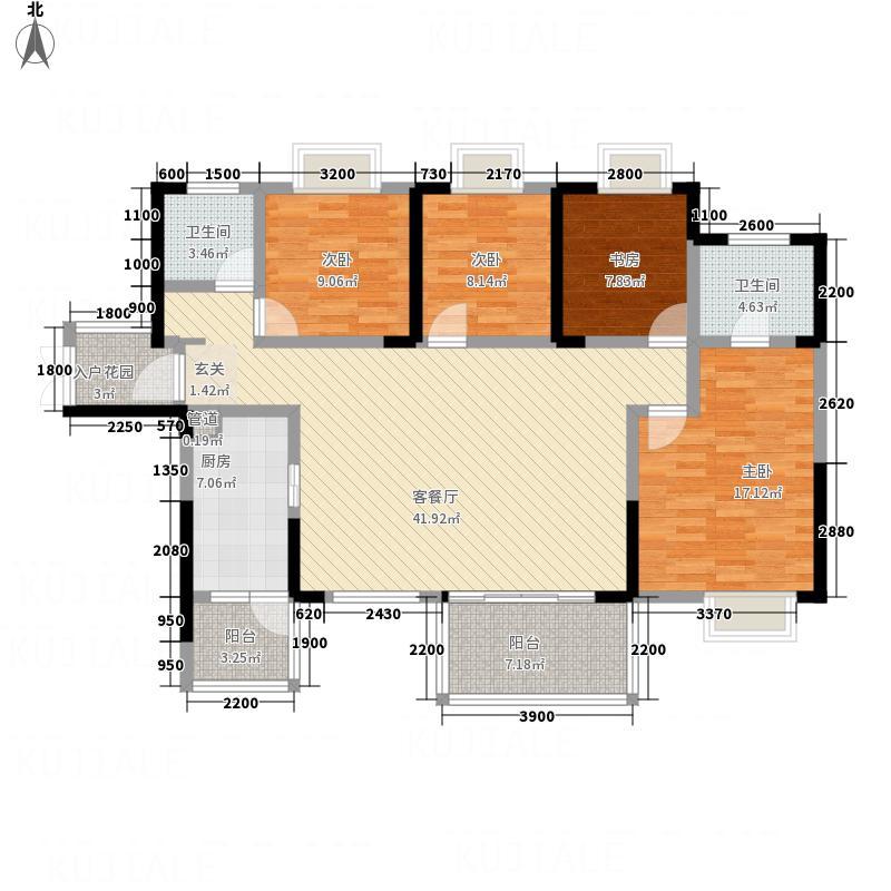 水木清华2栋3单元AB4室户型4室2厅2卫1厨