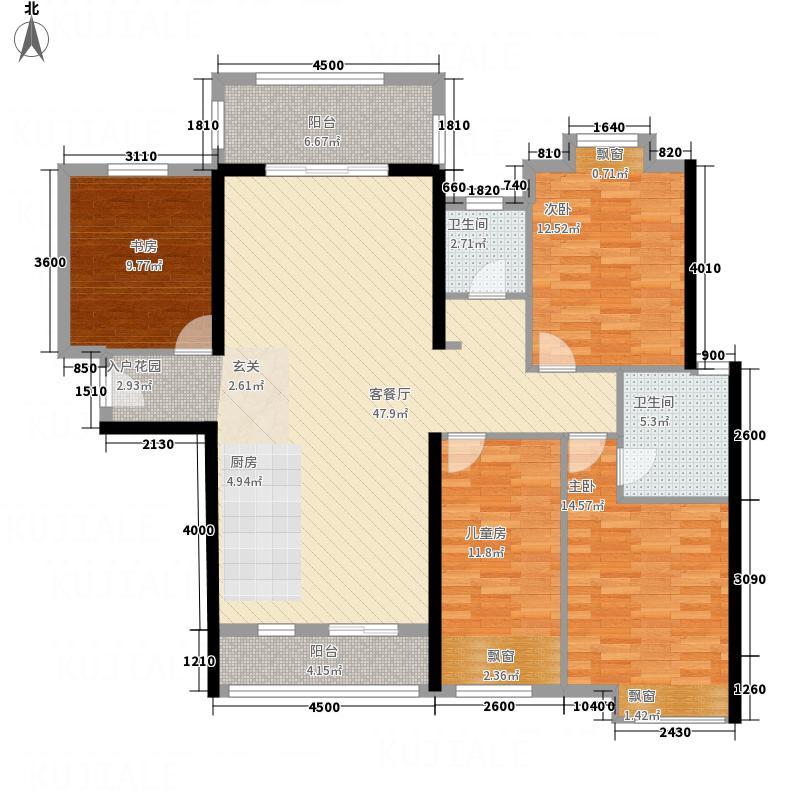 松达・观天下2128.15㎡2#楼标准层022+户型2室2厅2卫1厨