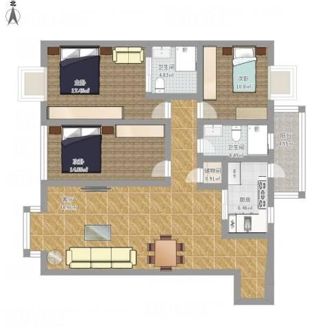 青云阁3室1厅2卫1厨163.00㎡户型图