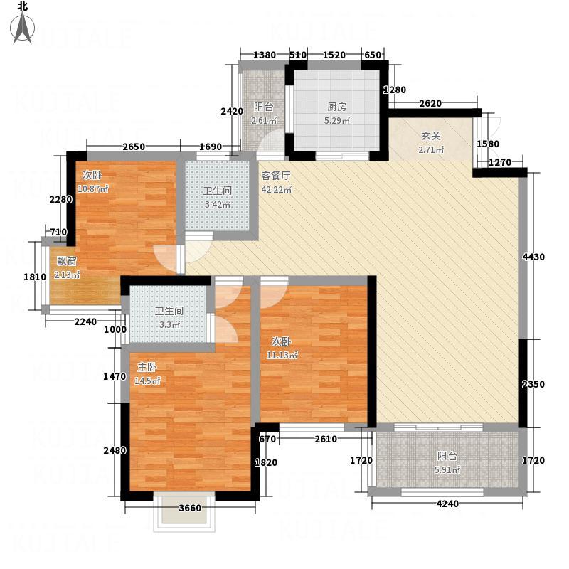 金安景园122.10㎡B户型3室2厅2卫