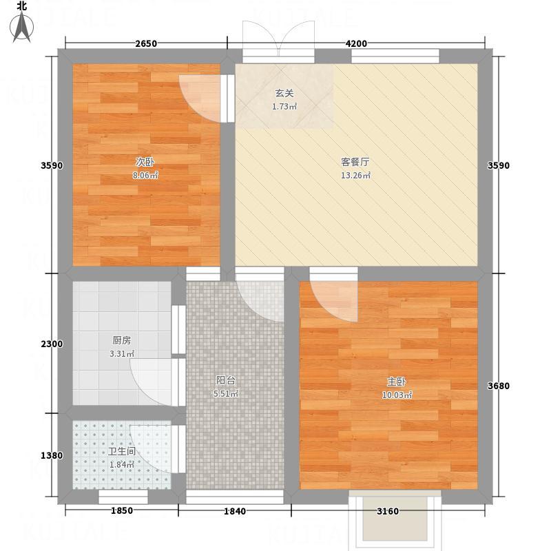 兴华广场51.70㎡A区A座A户型2室1厅1卫1厨