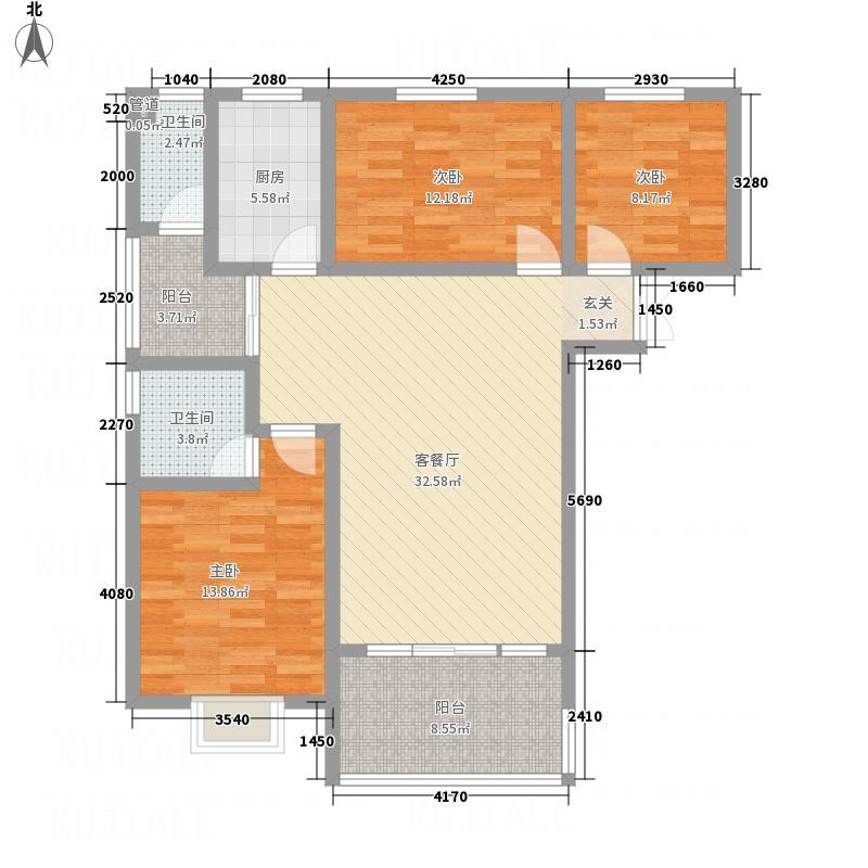 兴华广场131.50㎡A区A座A户型3室2厅2卫1厨