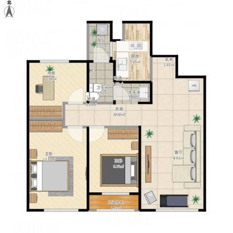 天朗五珑3室1厅1卫1厨97.00㎡户型图