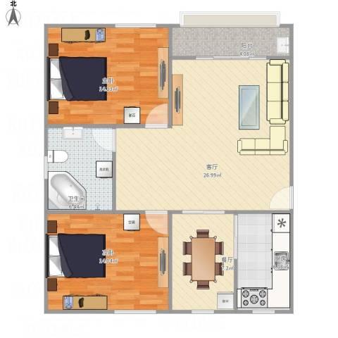 凤凰花园2室2厅1卫1厨106.00㎡户型图