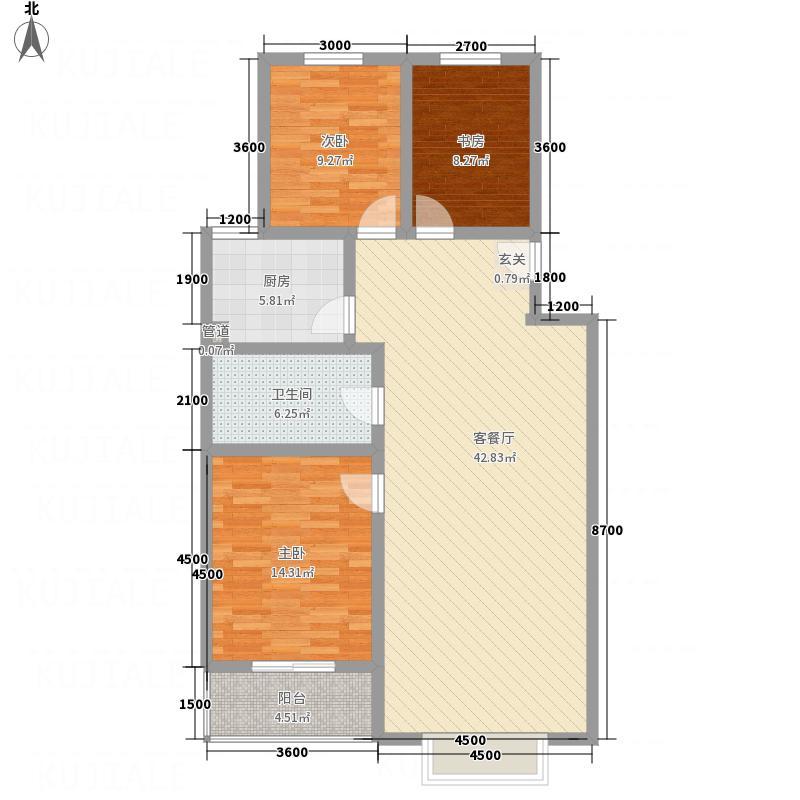 新涧河花园12.80㎡户型3室2厅1卫