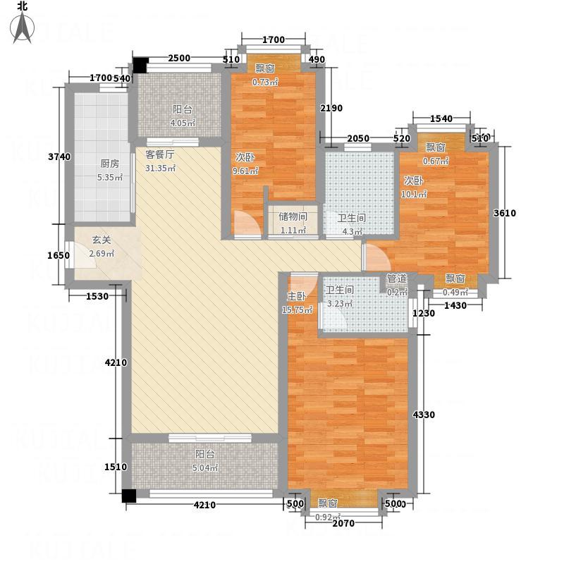 新都汇时代铭城124.00㎡户型3室2厅
