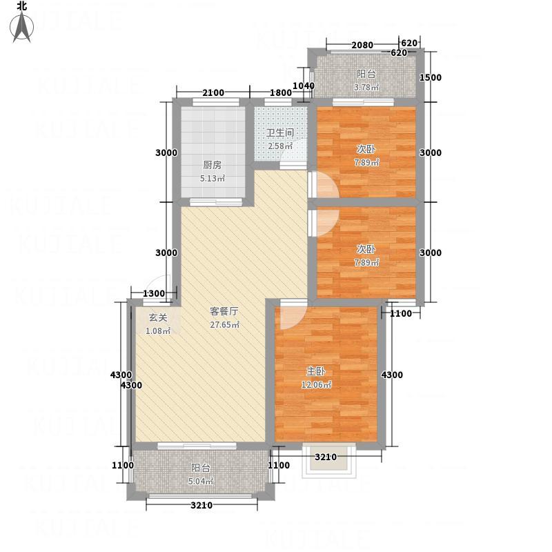 华锦盛世6.60㎡E户型3室2厅2卫