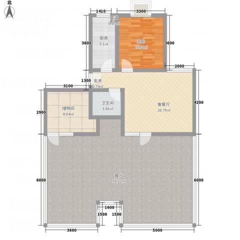 新涧河花园1室1厅1卫1厨103.55㎡户型图