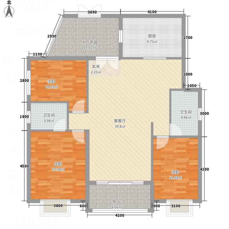 橘洲一号133.12㎡N户型3室2厅2卫1厨