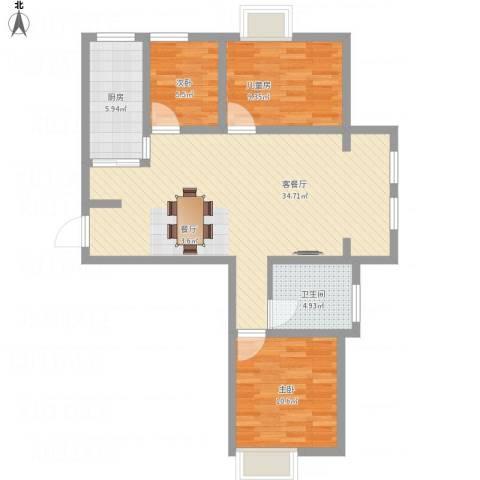 同润菲诗艾伦3室1厅1卫1厨102.00㎡户型图