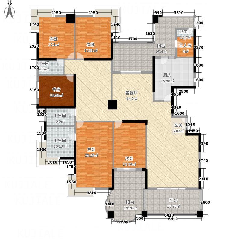 海逸一号316.11㎡12#楼2-30层偶数层A、B户型5室3厅3卫1厨