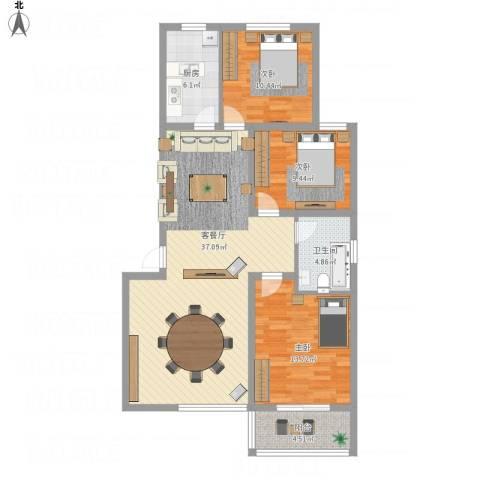 丽景名都三期3室1厅1卫1厨122.00㎡户型图
