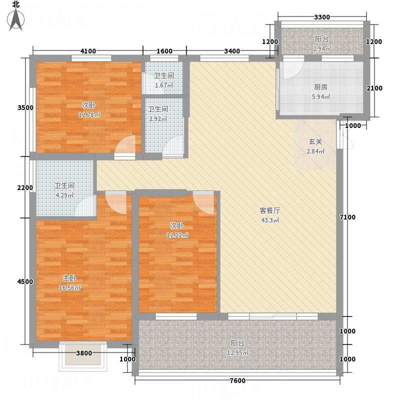 兴华广场13.00㎡B区E座E户型3室2厅2卫1厨