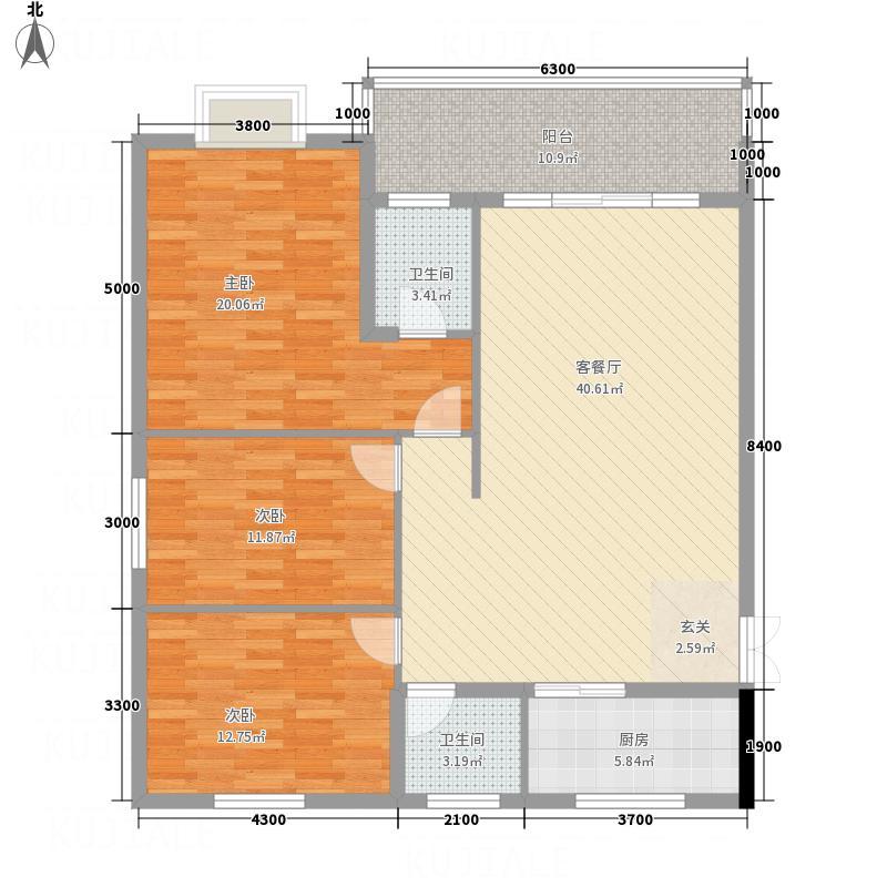 兴华广场135.64㎡B区F座F户型3室2厅2卫1厨