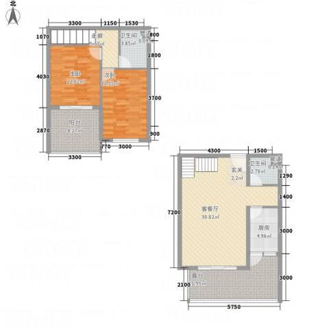 未来城2室1厅2卫1厨92.59㎡户型图