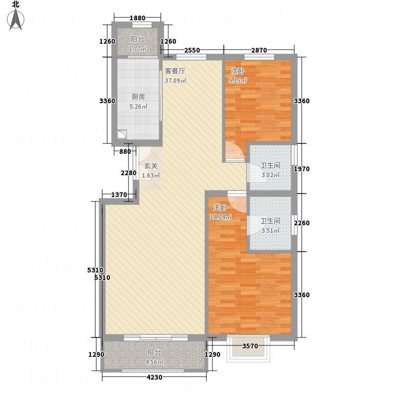 富尔沃・财富广场11.48㎡5#F户型2室2厅2卫1厨