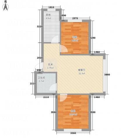 鹏博・长江花园2室1厅1卫1厨68.00㎡户型图