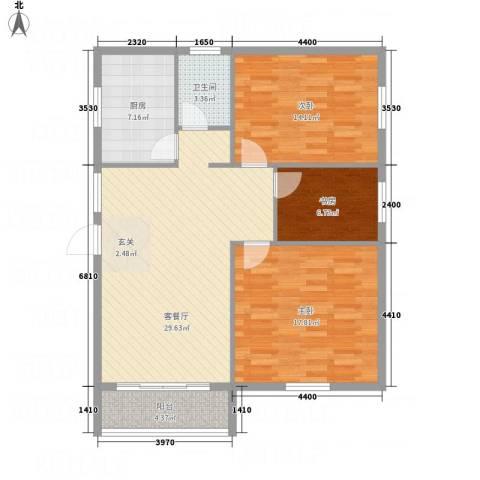 香格里拉3室1厅1卫1厨116.00㎡户型图
