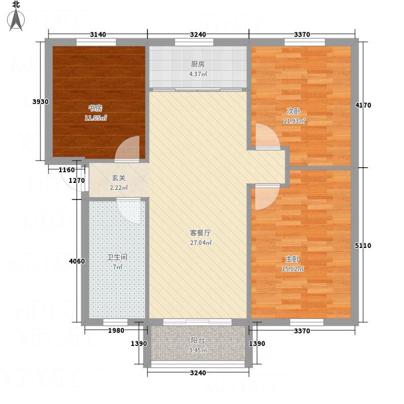 香格里拉111.71㎡C户型3室2厅1卫1厨