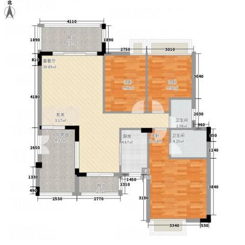 汇景御泉香山3室1厅2卫1厨116.00㎡户型图