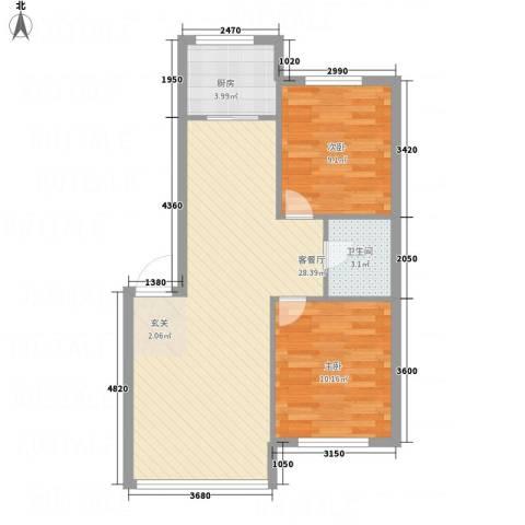 鹏博・长江花园2室1厅1卫1厨76.00㎡户型图
