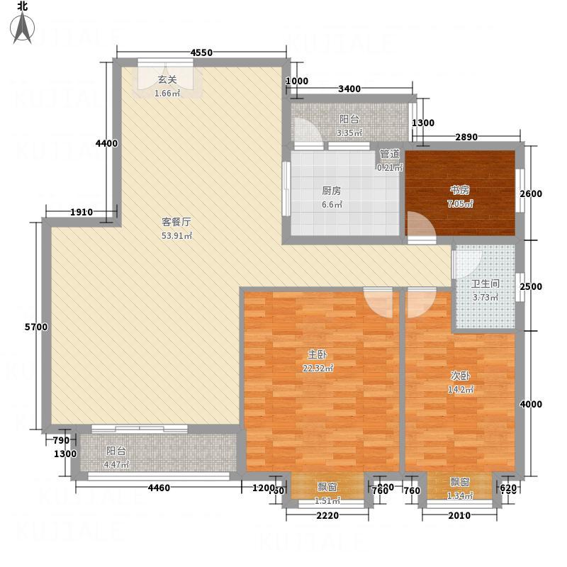 馨雅如232137.38㎡A-2户型3室2厅1卫1厨