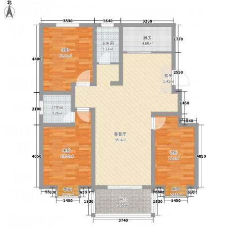 荣基春城3室1厅2卫1厨128.00㎡户型图