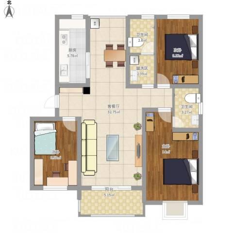 九里景秀3室1厅2卫1厨122.00㎡户型图