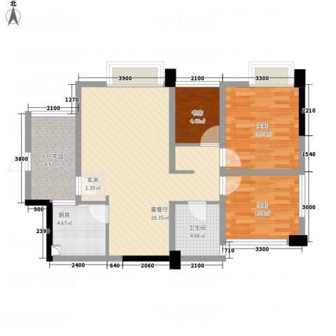 聚鑫2期阔座3室1厅1卫1厨77.89㎡户型图