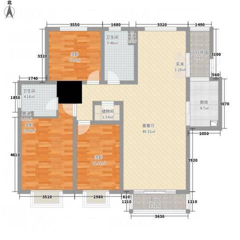 左岸高尔夫新城3室1厅2卫1厨118.00㎡户型图