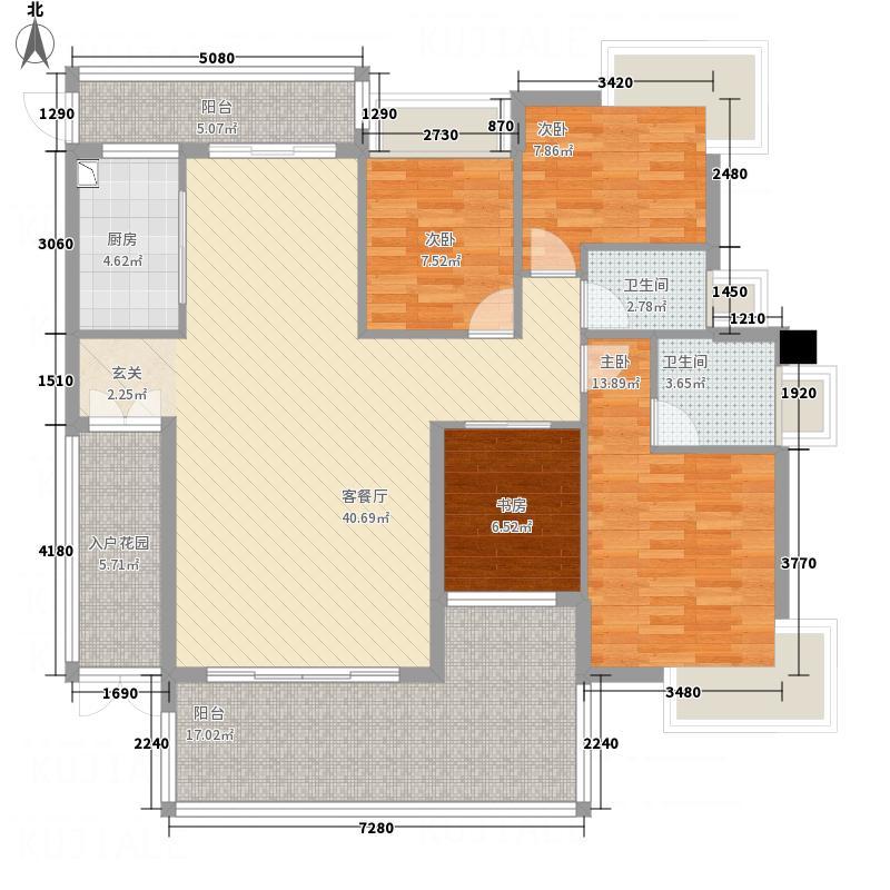 荣泰河庭164.11㎡A型面效果图户型4室2厅