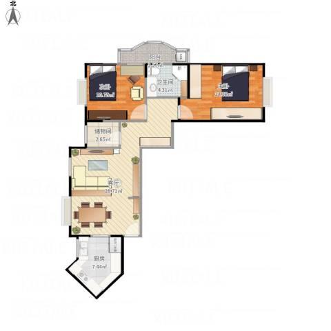 五星家园2室1厅1卫1厨75.68㎡户型图