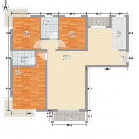 左岸高尔夫新城3室1厅2卫0厨108.59㎡户型图