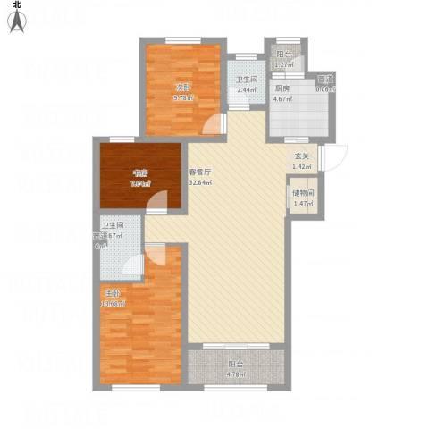天朗五珑3室1厅2卫1厨119.00㎡户型图