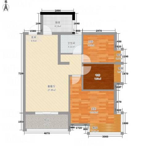 嘉豪 ・公园世家3室1厅1卫1厨101.00㎡户型图