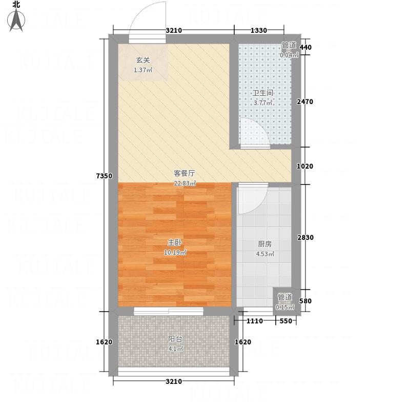 富尔沃・财富广场51.24㎡E2户型1室2厅1卫1厨