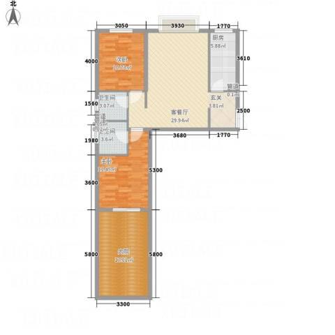 金源财富广场2室1厅2卫1厨82.86㎡户型图
