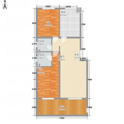 金源财富广场2室1厅2卫1厨91.43㎡户型图