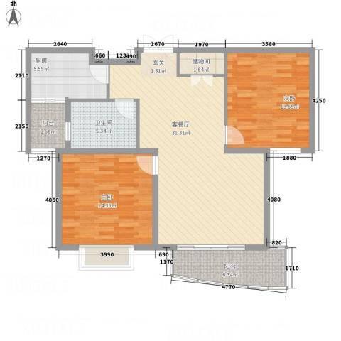 上海新城2室1厅1卫1厨114.00㎡户型图