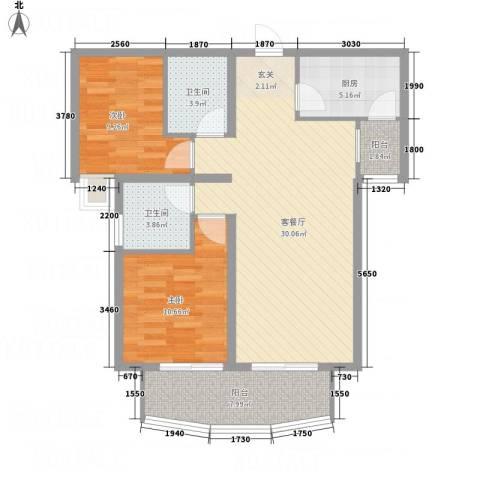 金吉华冠苑2室1厅2卫1厨104.00㎡户型图