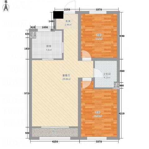 华城新视界2室1厅1卫1厨68.03㎡户型图