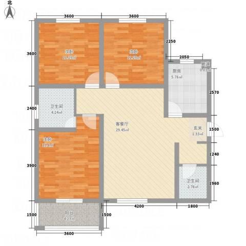 滨港龙湾3室1厅2卫1厨82.47㎡户型图