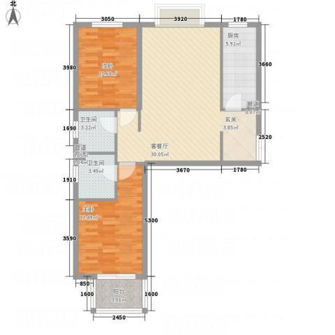 金源财富广场2室1厅2卫1厨69.01㎡户型图