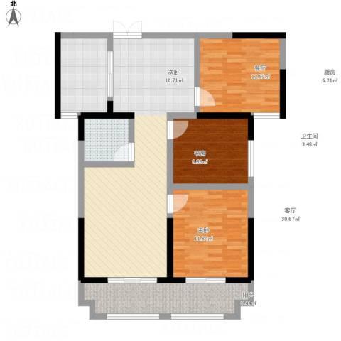 蓝鼎海棠湾3室1厅1卫1厨116.00㎡户型图