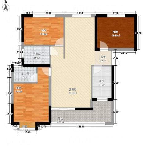 嘉豪 ・公园世家3室1厅2卫1厨121.00㎡户型图